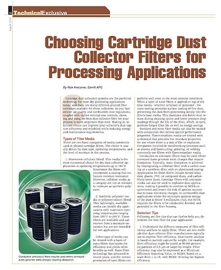 Choosing Cartridge Dust Collector Filters for Processing Applications