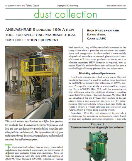 ANSI/ASHRAE Standard 199: A new tool for specifying pharmaceutical dust collection equipment