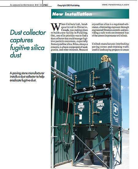 Dust Collector Captures Fugitive Silica Dust