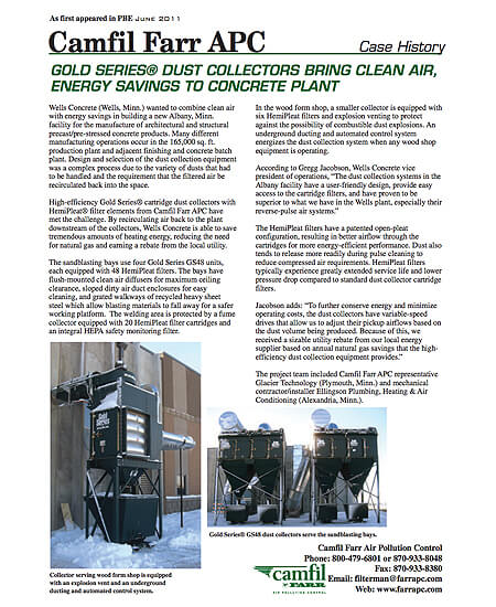 Gold Series Dust Collectors Bring Clean Air, Energy Savings To Concrete Plant