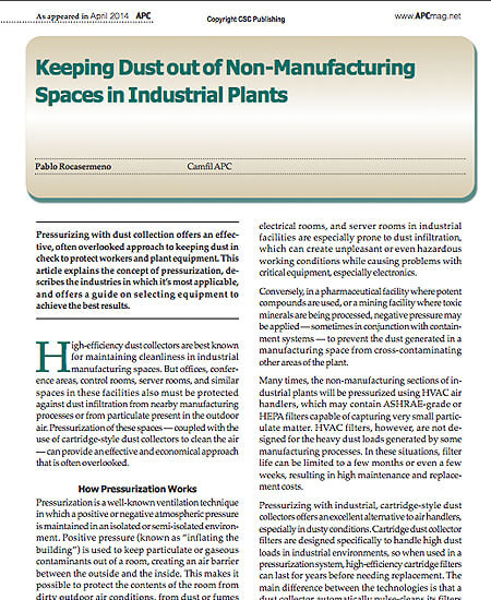 Keeping Dust out of Non-Manufacturing Spaces in Industrial Plants