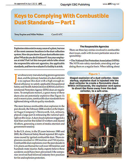 Keys to Complying With Combustible Dust Standards - Part I