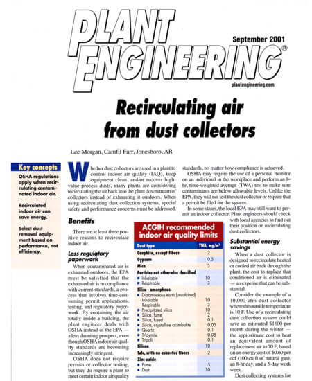 Recirculating Air From Dust Collectors