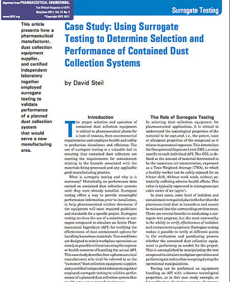 Using Surrogate Testing to Determine Selection and Performance of Contained Dust Collection Systems