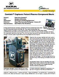 Camtain™ Captures Potent Pharma Compound Dusts