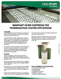 HEMIPLEAT® FILTER CARTRIDGES FOR PHARMACEUTICAL COATING APPLICATIONS
