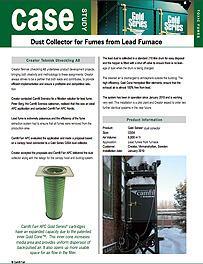 Dust Collector for Fumes from Lead Furnace