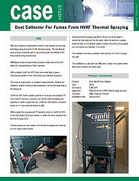 Dust Collector For Fumes From HVAF Thermal Spraying