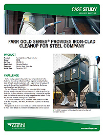 Farr Gold Series® provides Iron-Clad Cleanup for Steel Company