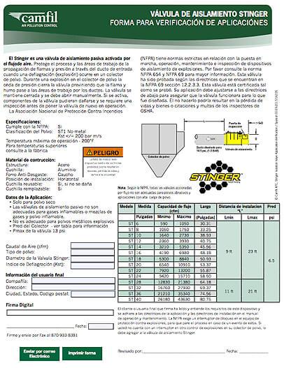 Application Verification Form Stinger Isolation Valve