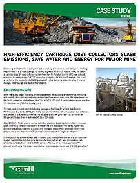 High-efficiency cartridge dust collectors slash emissions, save water and energy for major mine