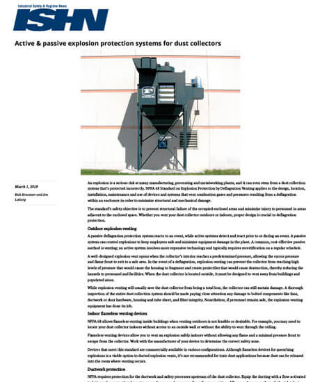 Active & passive explosion protection systems for dust collectors