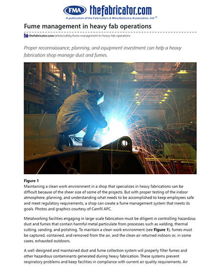 Fume Management in Heavy Fab Operations