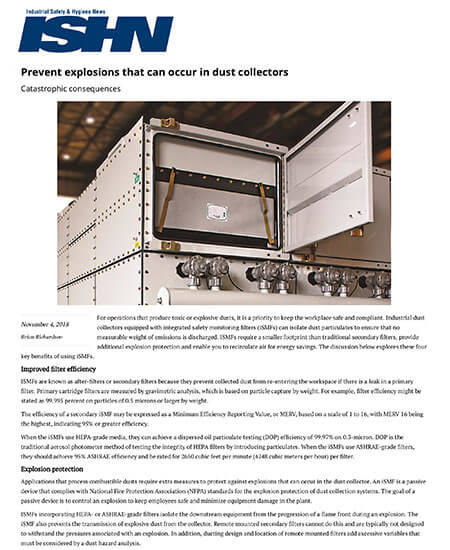 Prevent Explosions That Can Occur in Dust Collectors