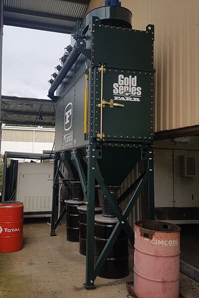 Jag Welding's Gold Series dust collector in plasma cutting application in Queensland, Australia.