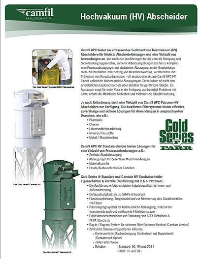 Gold Series High Vacuum - Staubabscheider