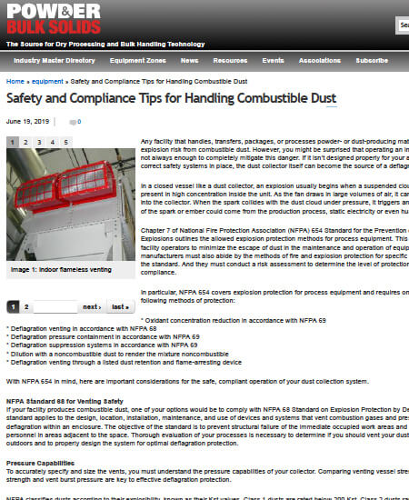 Safety and Compliance Tips for Handling Combustible Dust